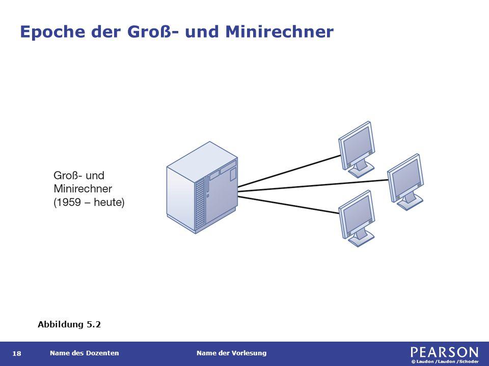 © Laudon /Laudon /Schoder Name des DozentenName der Vorlesung Epoche der Groß- und Minirechner Abbildung 5.2 18