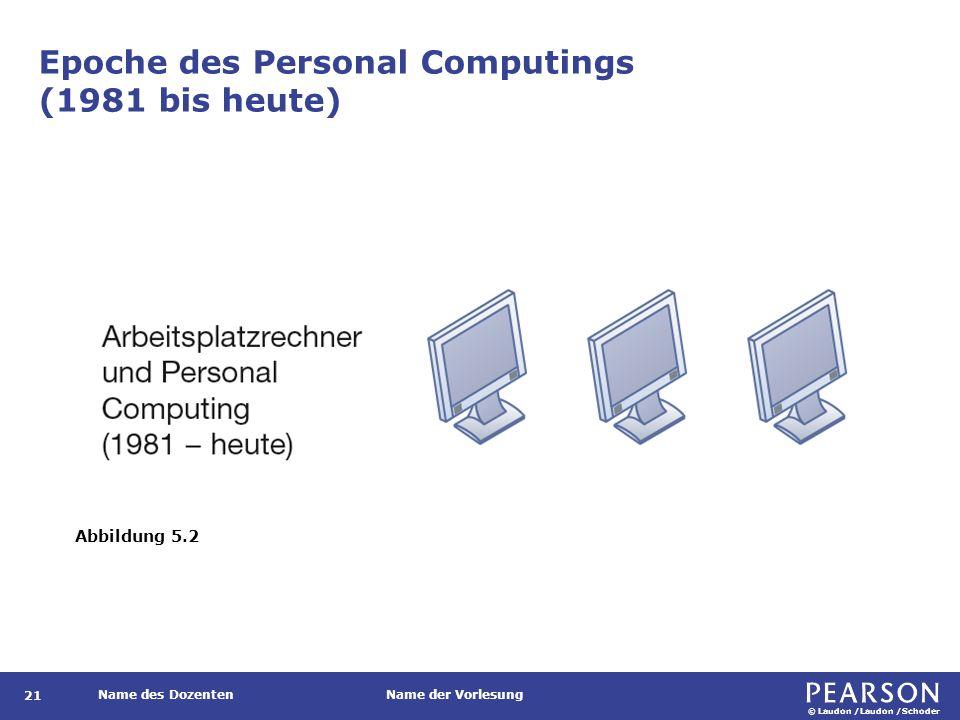 © Laudon /Laudon /Schoder Name des DozentenName der Vorlesung Epoche des Personal Computings (1981 bis heute) Abbildung 5.2 21