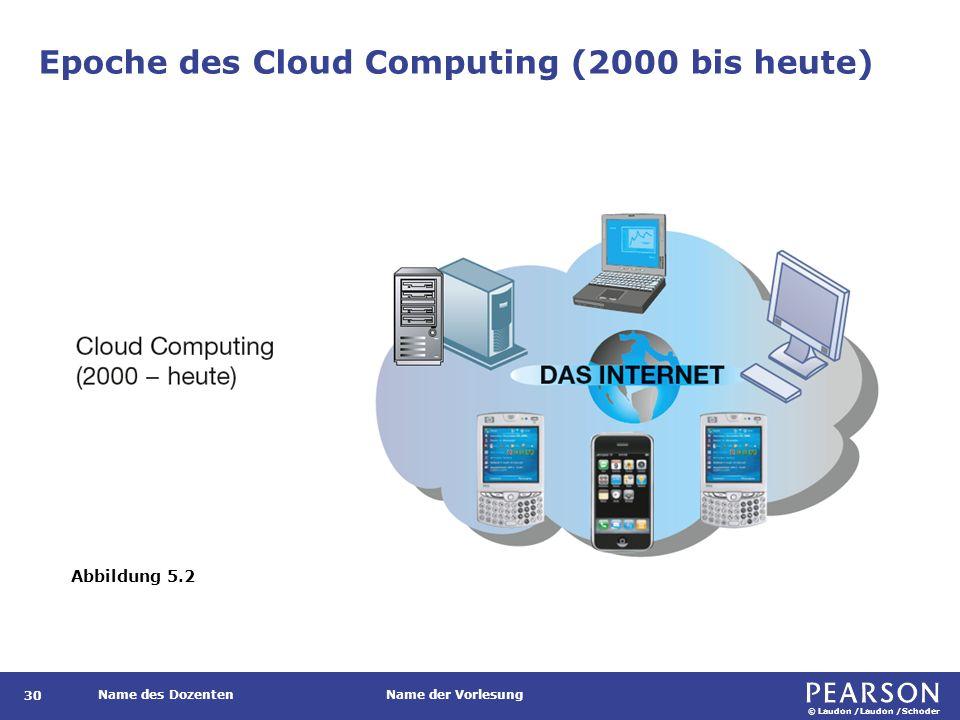 © Laudon /Laudon /Schoder Name des DozentenName der Vorlesung Epoche des Cloud Computing (2000 bis heute) Abbildung 5.2 30
