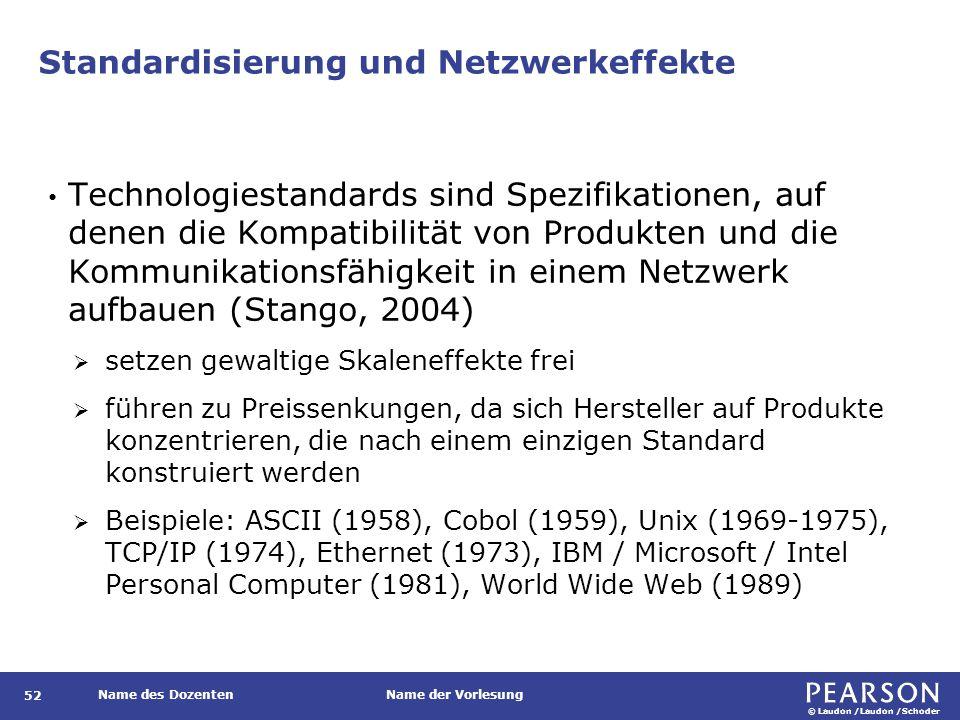 © Laudon /Laudon /Schoder Name des DozentenName der Vorlesung Standardisierung und Netzwerkeffekte Technologiestandards sind Spezifikationen, auf denen die Kompatibilität von Produkten und die Kommunikationsfähigkeit in einem Netzwerk aufbauen (Stango, 2004)  setzen gewaltige Skaleneffekte frei  führen zu Preissenkungen, da sich Hersteller auf Produkte konzentrieren, die nach einem einzigen Standard konstruiert werden  Beispiele: ASCII (1958), Cobol (1959), Unix (1969-1975), TCP/IP (1974), Ethernet (1973), IBM / Microsoft / Intel Personal Computer (1981), World Wide Web (1989) 52
