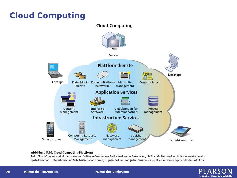 © Laudon /Laudon /Schoder Name des DozentenName der Vorlesung Cloud Computing 78