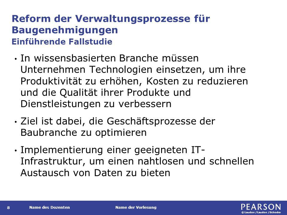 © Laudon /Laudon /Schoder Name des DozentenName der Vorlesung Reform der Verwaltungsprozesse für Baugenehmigungen 9 Wie kann eine IT-Infrastruktur dazu beitragen, die Antragstellung zu verbessern.