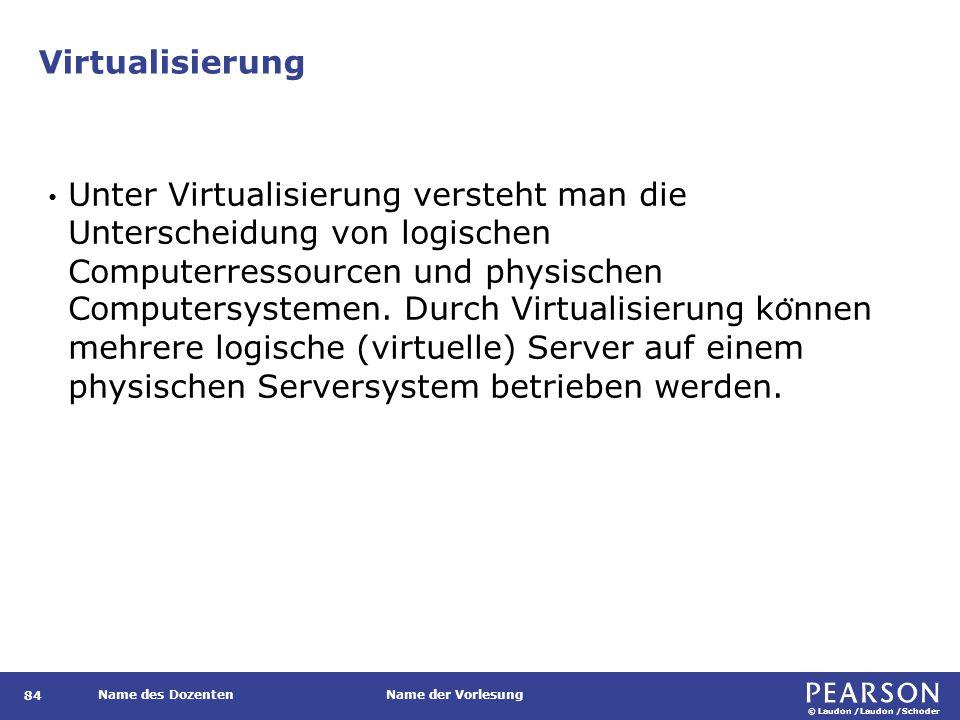 © Laudon /Laudon /Schoder Name des DozentenName der Vorlesung Virtualisierung Unter Virtualisierung versteht man die Unterscheidung von logischen Computerressourcen und physischen Computersystemen.