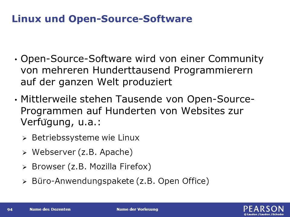 © Laudon /Laudon /Schoder Name des DozentenName der Vorlesung Linux und Open-Source-Software Open-Source-Software wird von einer Community von mehreren Hunderttausend Programmierern auf der ganzen Welt produziert Mittlerweile stehen Tausende von Open-Source- Programmen auf Hunderten von Websites zur Verfu ̈ gung, u.a.:  Betriebssysteme wie Linux  Webserver (z.B.