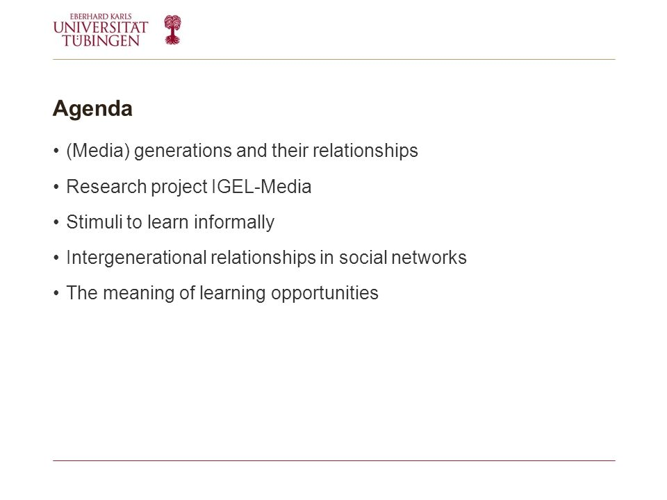 Agenda (Media) generations and their relationships Research project IGEL-Media Stimuli to learn informally Intergenerational relationships in social networks The meaning of learning opportunities