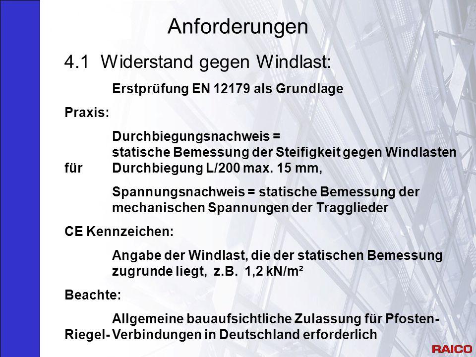 Anforderungen 4.1 Widerstand gegen Windlast: Erstprüfung EN 12179 als Grundlage Praxis: Durchbiegungsnachweis = statische Bemessung der Steifigkeit gegen Windlasten für Durchbiegung L/200 max.