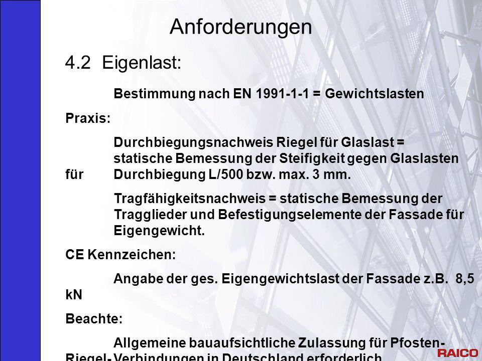 Anforderungen 4.2 Eigenlast: Bestimmung nach EN 1991-1-1 = Gewichtslasten Praxis: Durchbiegungsnachweis Riegel für Glaslast = statische Bemessung der Steifigkeit gegen Glaslasten für Durchbiegung L/500 bzw.
