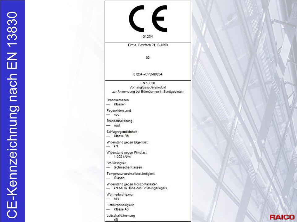 Anforderungen 4.8 Feuerwiderstand: Bewertung nach prEN 13501-2 Praxis: Herstellung der Fassade innerhalb der Vorgaben des Klassifizierungsberichts Brandschutz.