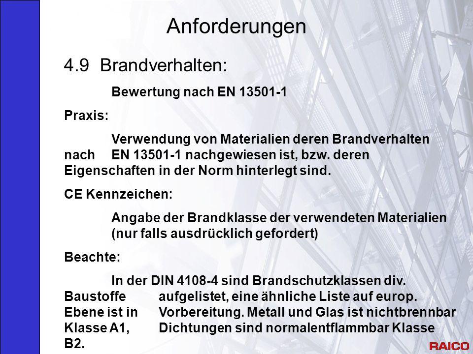 Anforderungen 4.9 Brandverhalten: Bewertung nach EN 13501-1 Praxis: Verwendung von Materialien deren Brandverhalten nach EN 13501-1 nachgewiesen ist, bzw.