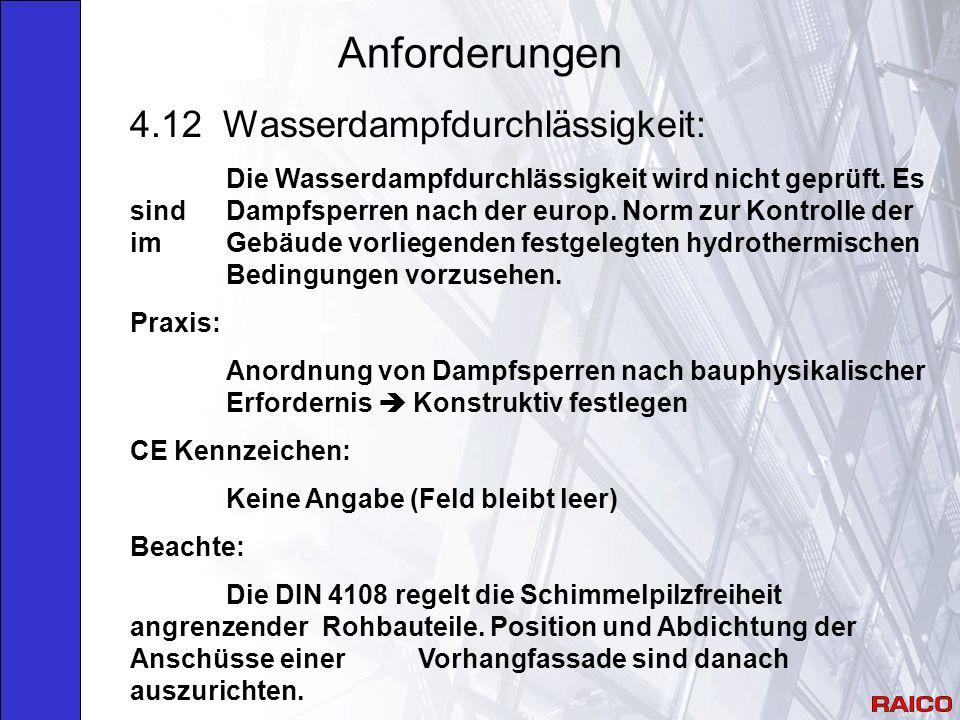 Anforderungen 4.12 Wasserdampfdurchlässigkeit: Die Wasserdampfdurchlässigkeit wird nicht geprüft.