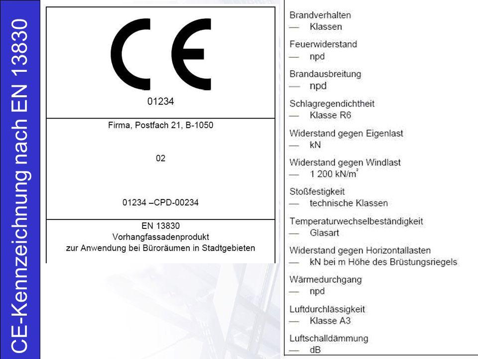 CE-Kennzeichnung nach EN 13830  Kennzeichnung des Produktes  Angabe: BV, Fassade, Fassadensystem, Typ  Prüfverfahren  Angabe: Werkseigene Produktionskontrolle nach EN 13830  Datum der Produktfertigstellung und Datum der Produktprüfungen  Prüfergebnisse und ggf.
