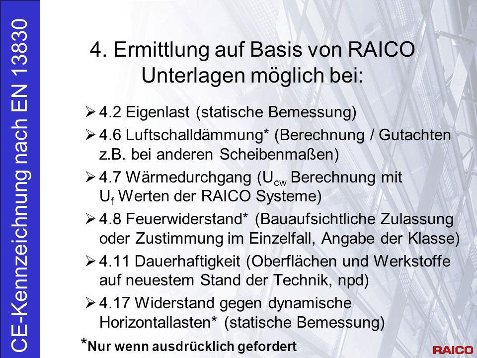 4. Ermittlung auf Basis von RAICO Unterlagen möglich bei: CE-Kennzeichnung nach EN 13830  4.2 Eigenlast (statische Bemessung)  4.6 Luftschalldämmung