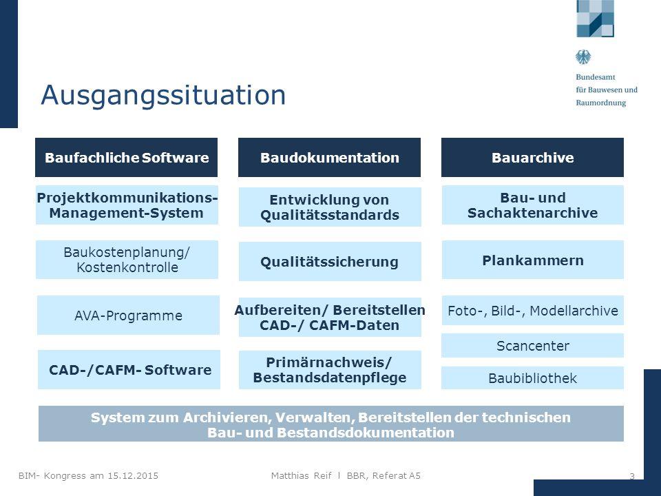 BIM- Kongress am 15.12.2015Matthias Reif I BBR, Referat A5 14 Kollisionsprüfungen und Qualitätssicherung mit BIM TGA- Planung