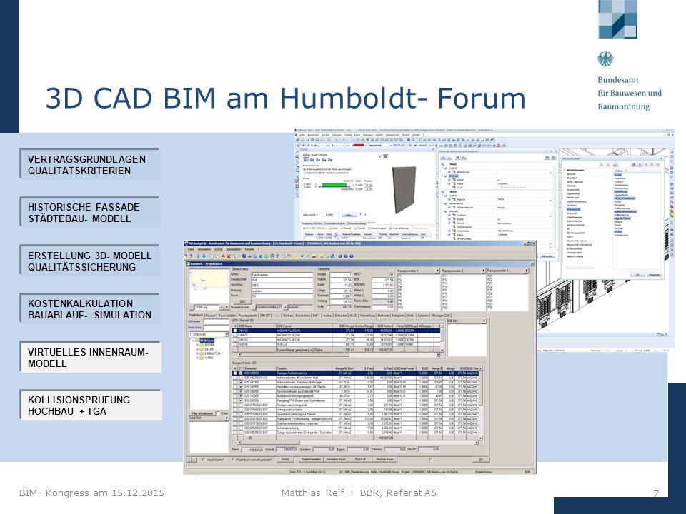 BIM- Kongress am 15.12.2015Matthias Reif I BBR, Referat A5 18 3D BIM (IFC) im Planungsprozess 3D BIM Objektplaner Gebäude Architekturmodell Fachplaner TGA- Modell Fachplaner TWP- Modell IFCIFC IFCIFC IFCIFC Unterlagen für Ausschreibung/ Vergabe (2D) Auswertungen, Simulationen Qualitätssicherung Modell- Checker BIM- Plattform (PKMS) LP 2-5 HOAI LP 6/7 HOAI LP 8/9 HOAI Koordinationsmodell 1.Stufe: BIM- Teilprozess