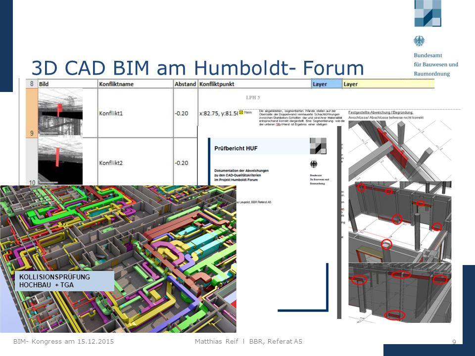 BIM- Kongress am 15.12.2015Matthias Reif I BBR, Referat A5 9 3D CAD BIM am Humboldt- Forum KOLLISIONSPRÜFUNG HOCHBAU + TGA KOLLISIONSPRÜFUNG HOCHBAU + TGA