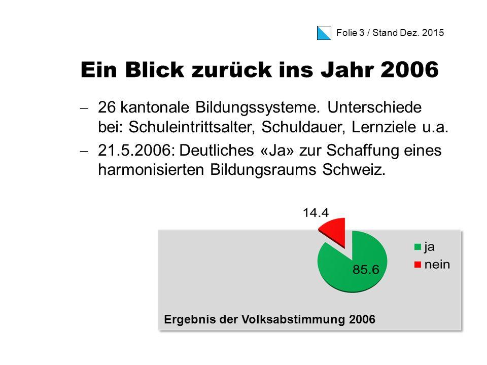 Folie 3 / Stand Dez. 2015 Ein Blick zurück ins Jahr 2006  26 kantonale Bildungssysteme.