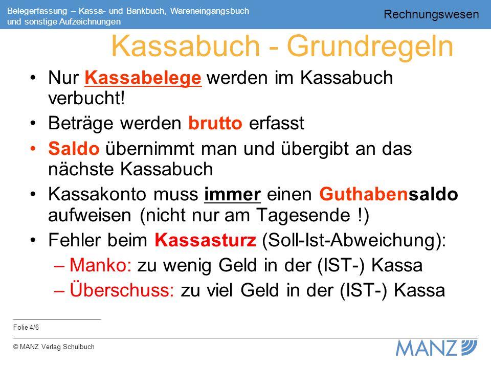 Rechnungswesen Folie 4/6 Belegerfassung – Kassa- und Bankbuch, Wareneingangsbuch und sonstige Aufzeichnungen © MANZ Verlag Schulbuch Kassabuch - Grund