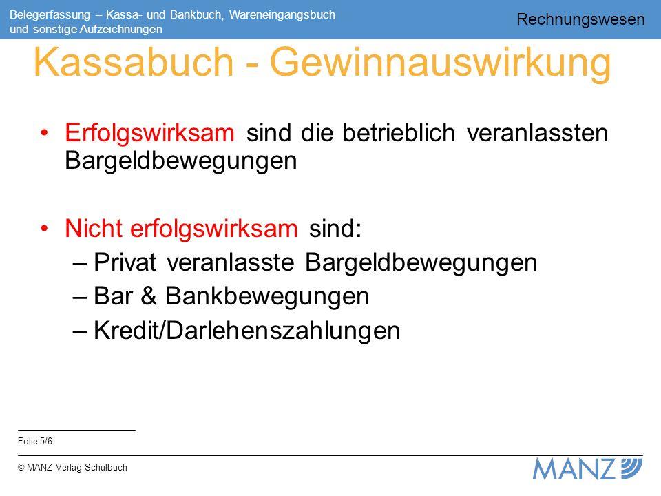 Rechnungswesen Folie 5/6 Belegerfassung – Kassa- und Bankbuch, Wareneingangsbuch und sonstige Aufzeichnungen © MANZ Verlag Schulbuch Kassabuch - Gewin