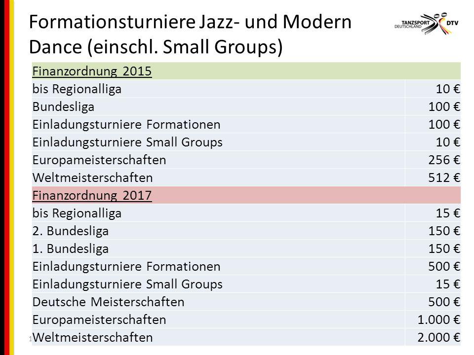 Formationsturniere Jazz- und Modern Dance (einschl.