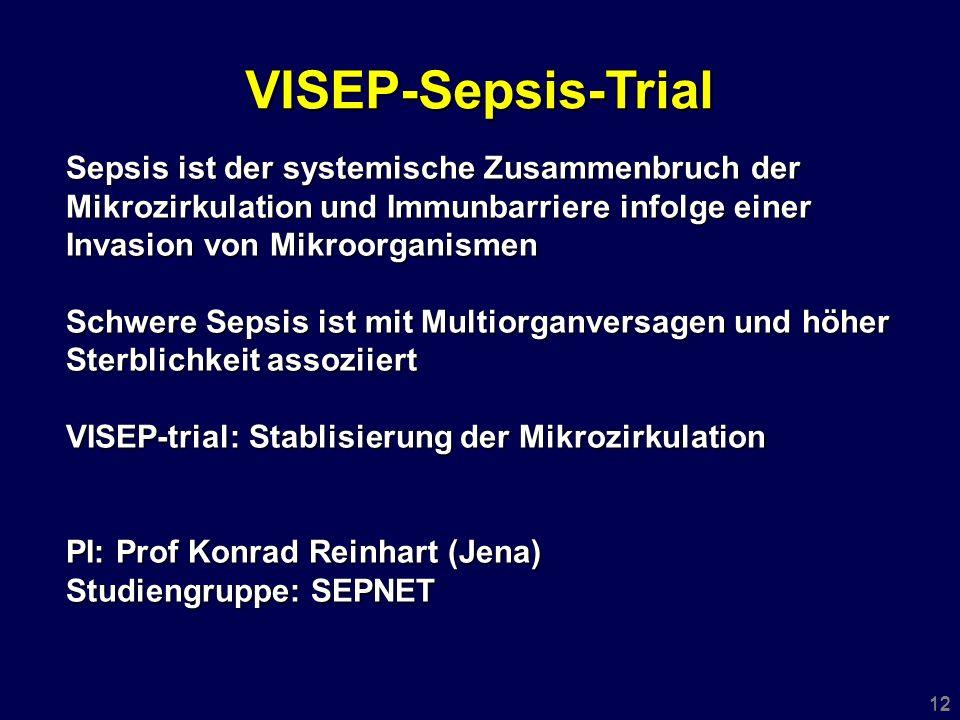 12 Sepsis ist der systemische Zusammenbruch der Mikrozirkulation und Immunbarriere infolge einer Invasion von Mikroorganismen Schwere Sepsis ist mit Multiorganversagen und höher Sterblichkeit assoziiert VISEP-trial: Stablisierung der Mikrozirkulation PI: Prof Konrad Reinhart (Jena) Studiengruppe: SEPNET VISEP-Sepsis-Trial