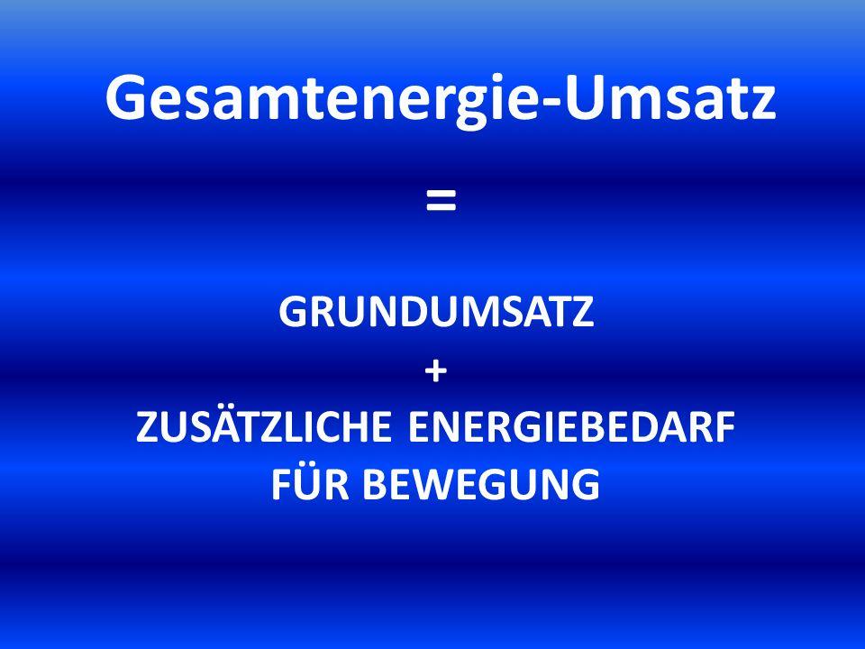 GRUNDUMSATZ + ZUSÄTZLICHE ENERGIEBEDARF FÜR BEWEGUNG Gesamtenergie-Umsatz =