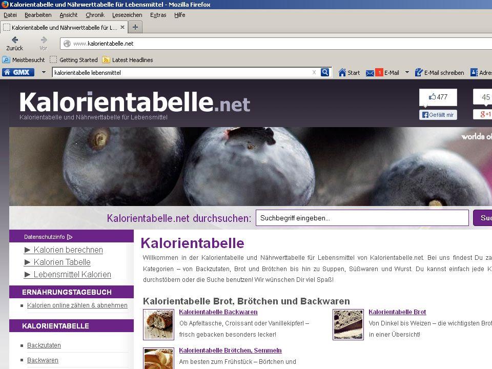 http://www.kalorientabelle.net/