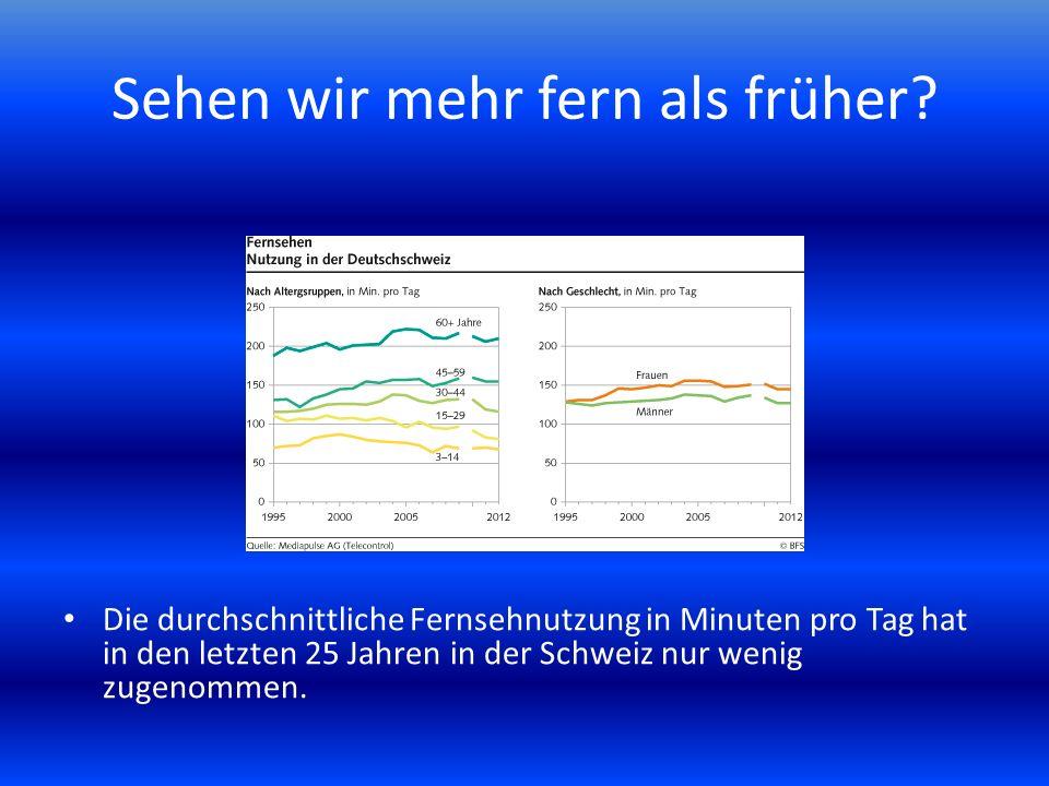Sehen wir mehr fern als früher? Die durchschnittliche Fernsehnutzung in Minuten pro Tag hat in den letzten 25 Jahren in der Schweiz nur wenig zugenomm