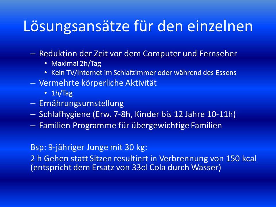 Lösungsansätze für den einzelnen – Reduktion der Zeit vor dem Computer und Fernseher Maximal 2h/Tag Kein TV/Internet im Schlafzimmer oder während des
