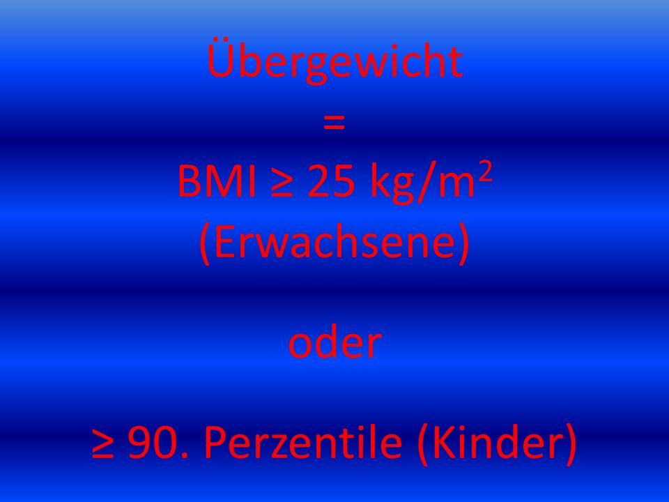 Übergewicht = BMI ≥ 25 kg/m 2 (Erwachsene) oder ≥ 90. Perzentile (Kinder)