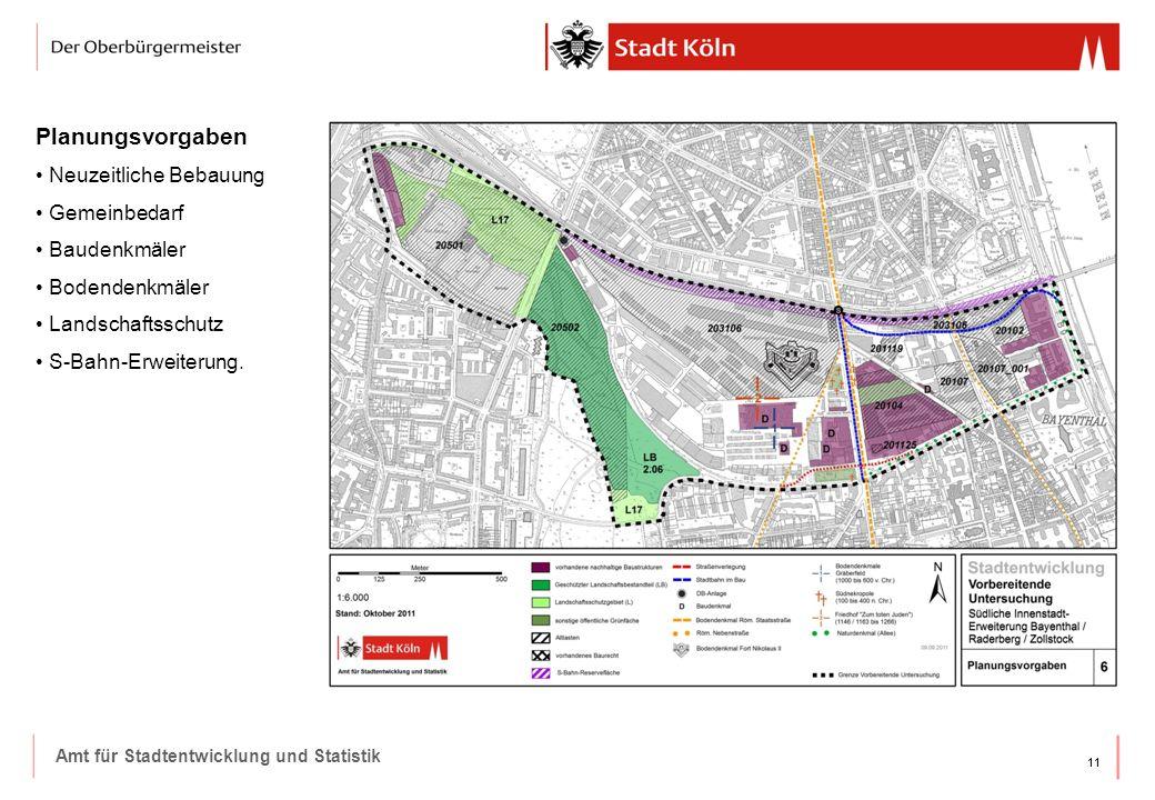 11 Amt für Stadtentwicklung und Statistik Planungsvorgaben Neuzeitliche Bebauung Gemeinbedarf Baudenkmäler Bodendenkmäler Landschaftsschutz S-Bahn-Erweiterung.