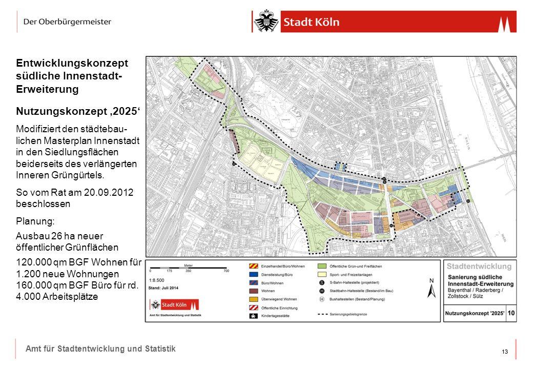 13 Amt für Stadtentwicklung und Statistik Entwicklungskonzept südliche Innenstadt- Erweiterung Nutzungskonzept '2025' Modifiziert den städtebau- lichen Masterplan Innenstadt in den Siedlungsflächen beiderseits des verlängerten Inneren Grüngürtels.