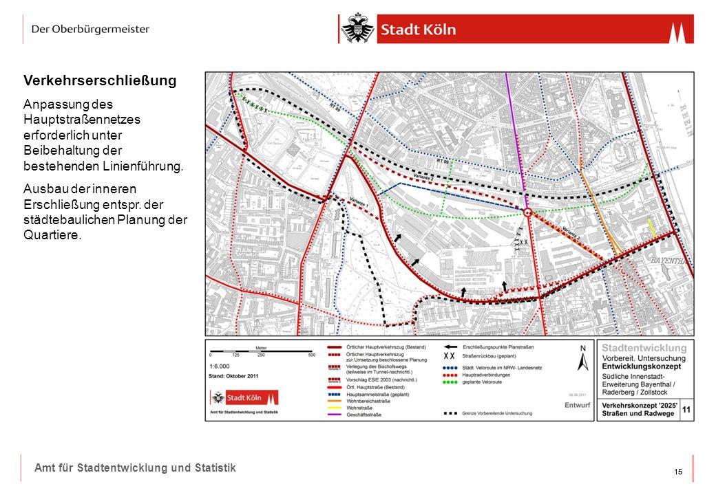 15 Amt für Stadtentwicklung und Statistik Verkehrserschließung Anpassung des Hauptstraßennetzes erforderlich unter Beibehaltung der bestehenden Linienführung.