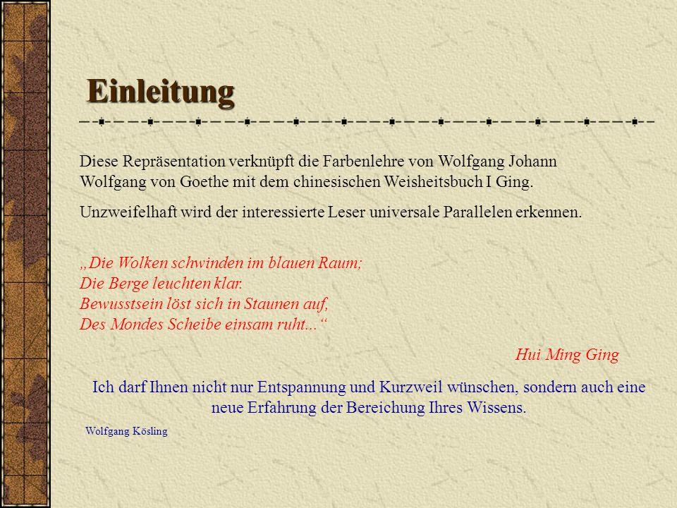 Einleitung Diese Repräsentation verknüpft die Farbenlehre von Wolfgang Johann Wolfgang von Goethe mit dem chinesischen Weisheitsbuch I Ging. Unzweifel
