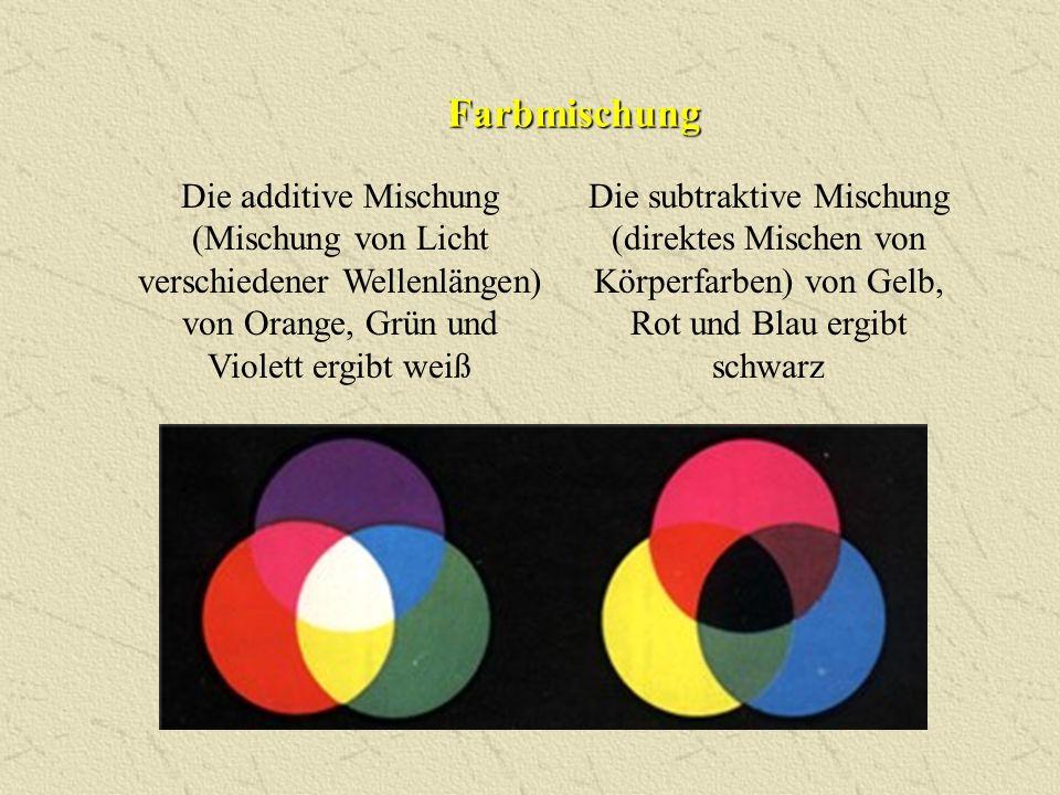 Farbmischung Die additive Mischung (Mischung von Licht verschiedener Wellenlängen) von Orange, Grün und Violett ergibt weiß Die subtraktive Mischung (