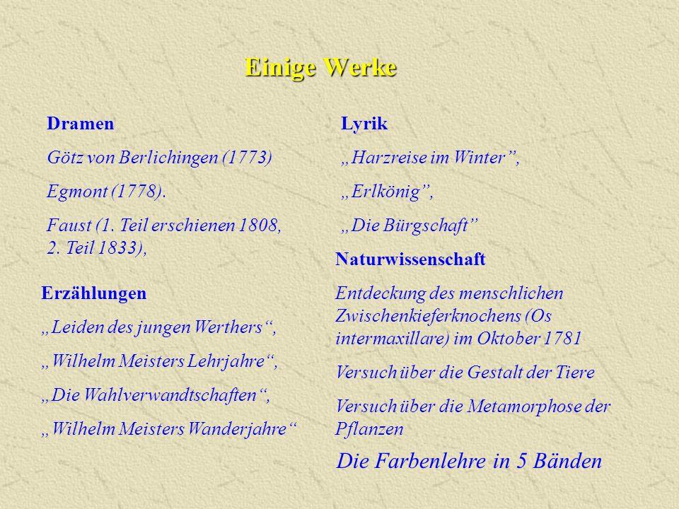 """Einige Werke Lyrik """"Harzreise im Winter"""", """"Erlkönig"""", """"Die Bürgschaft"""" Erzählungen """"Leiden des jungen Werthers"""", """"Wilhelm Meisters Lehrjahre"""", """"Die Wa"""