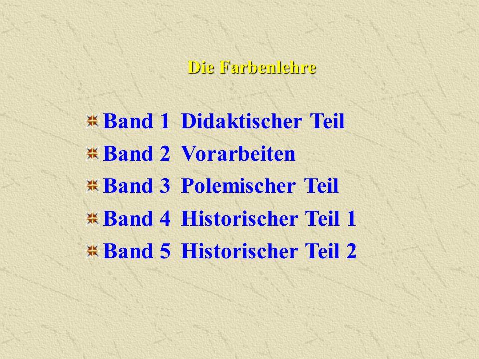Band 1 Didaktischer Teil Band 2 Vorarbeiten Band 3 Polemischer Teil Band 4Historischer Teil 1 Band 5Historischer Teil 2 Die Farbenlehre