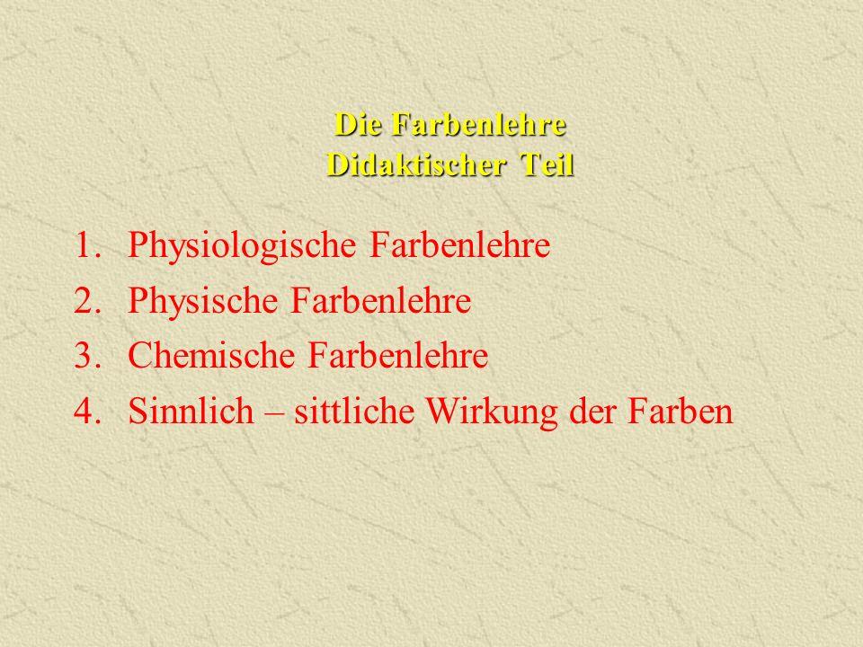 1.Physiologische Farbenlehre 2.Physische Farbenlehre 3.Chemische Farbenlehre 4.Sinnlich – sittliche Wirkung der Farben Die Farbenlehre Didaktischer Te