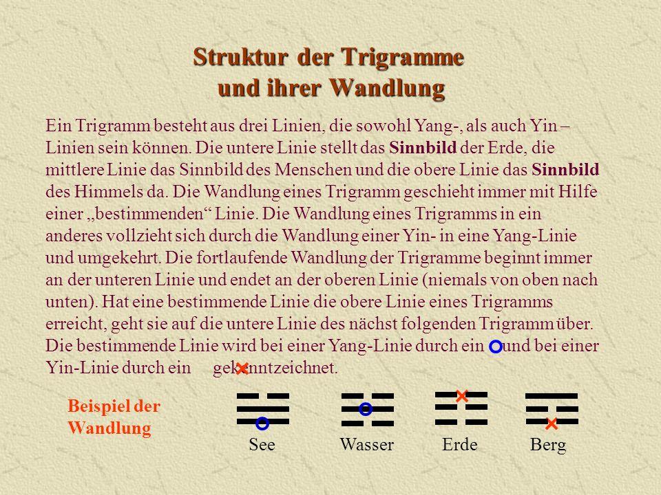 Struktur der Trigramme und ihrer Wandlung Ein Trigramm besteht aus drei Linien, die sowohl Yang-, als auch Yin – Linien sein können. Die untere Linie