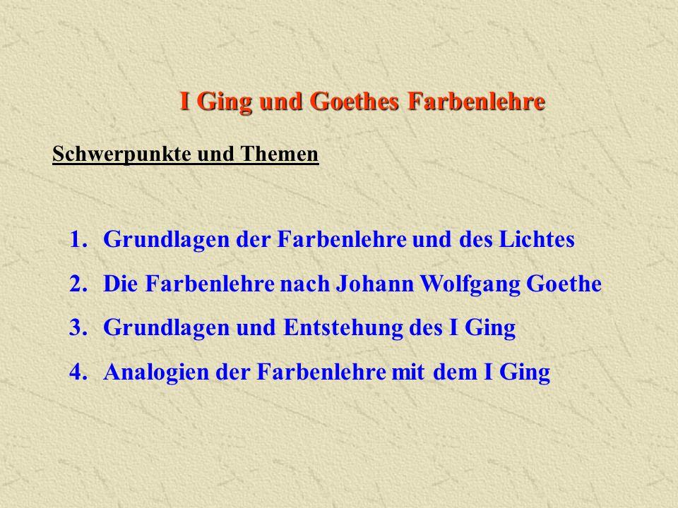 I Ging und Goethes Farbenlehre 1.Grundlagen der Farbenlehre und des Lichtes 2.Die Farbenlehre nach Johann Wolfgang Goethe 3.Grundlagen und Entstehung