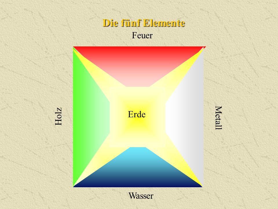 Die fünf Elemente Holz Wasser Feuer Metall Erde