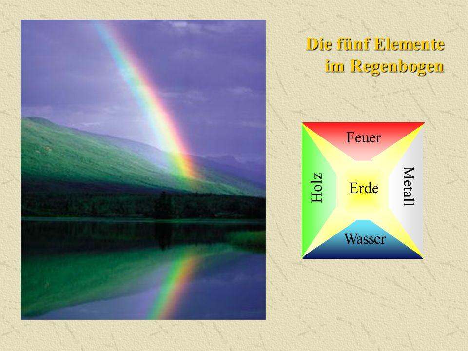 Die fünf Elemente im Regenbogen Wasser Feuer Metall Erde Holz