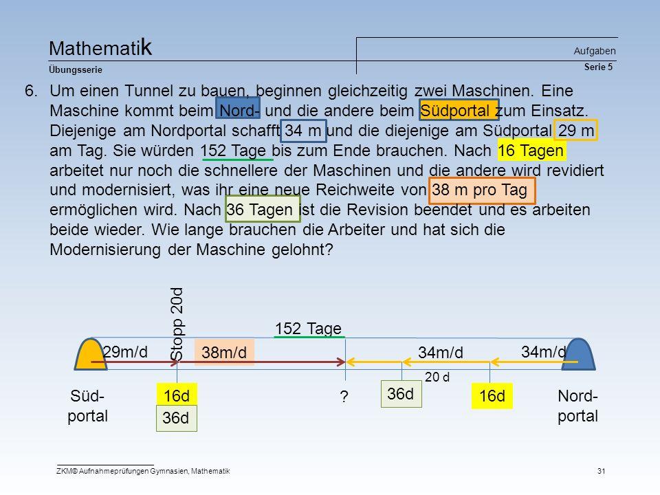 Ma t he m at i k Übungsserie Aufgaben Serie 5 ZKM© Aufnahmeprüfungen Gymnasien, Mathematik31 Süd- portal Nord- portal 34m/d29m/d 152 Tage 16d Stopp 20