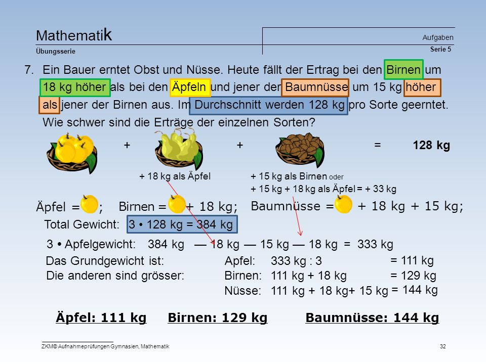 Ma t he m at i k Übungsserie Aufgaben Serie 5 ZKM© Aufnahmeprüfungen Gymnasien, Mathematik32 Äpfel = ; Äpfel: 111 kg Birnen: 129 kg Baumnüsse: 144 kg