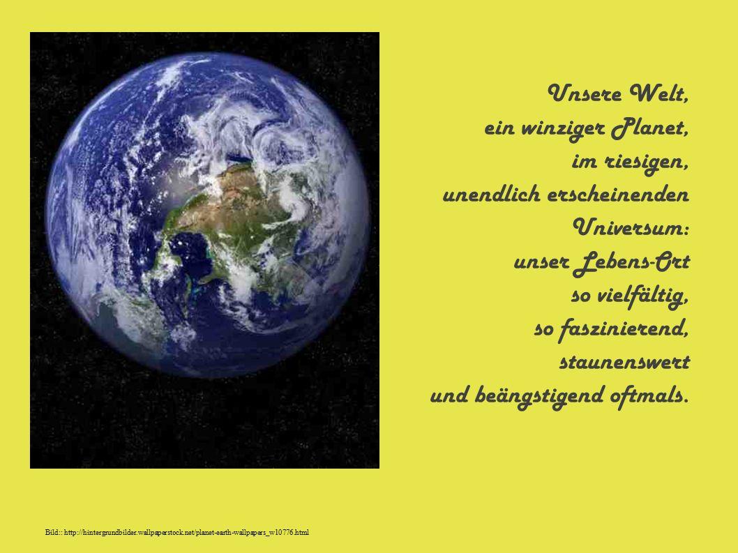 Unsere Welt, ein winziger Planet, im riesigen, unendlich erscheinenden Universum: unser Lebens-Ort so vielfältig, so faszinierend, staunenswert und beängstigend oftmals.