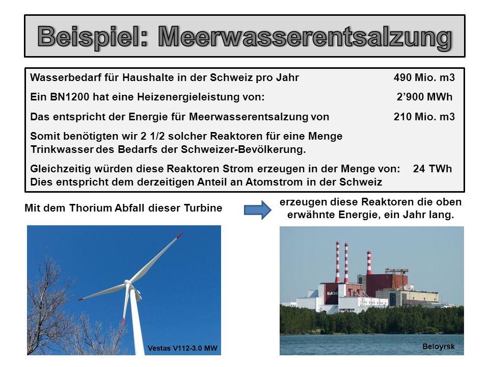 Wasserbedarf für Haushalte in der Schweiz pro Jahr 490 Mio. m3 Ein BN1200 hat eine Heizenergieleistung von: 2'900 MWh Das entspricht der Energie für M