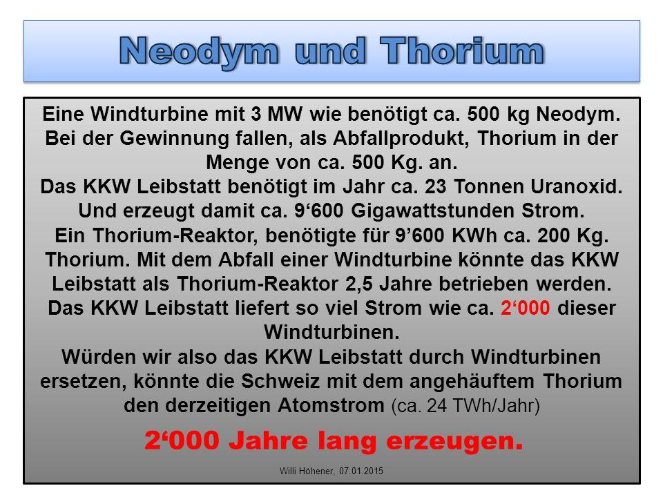Eine Windturbine mit 3 MW wie benötigt ca. 500 kg Neodym. Bei der Gewinnung fallen, als Abfallprodukt, Thorium in der Menge von ca. 500 Kg. an. Das KK