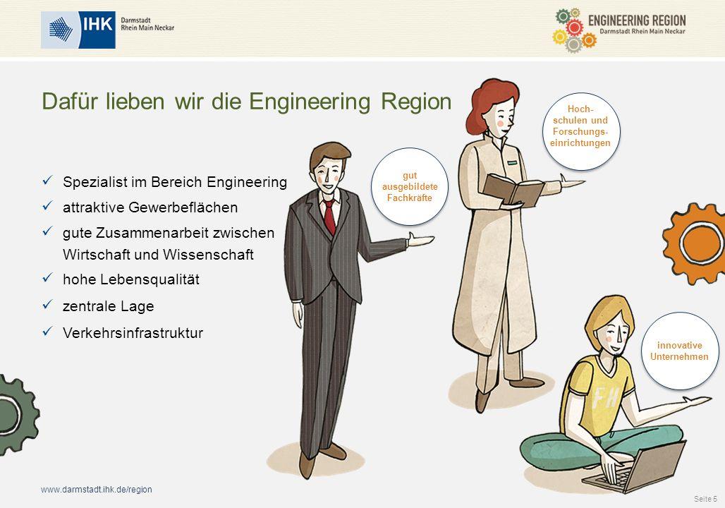 www.darmstadt.ihk.de/region Dafür lieben wir die Engineering Region Spezialist im Bereich Engineering attraktive Gewerbeflächen gute Zusammenarbeit zwischen Wirtschaft und Wissenschaft hohe Lebensqualität zentrale Lage Verkehrsinfrastruktur Seite 5 gut ausgebildete Fachkräfte Hoch- schulen und Forschungs- einrichtungen innovative Unternehmen