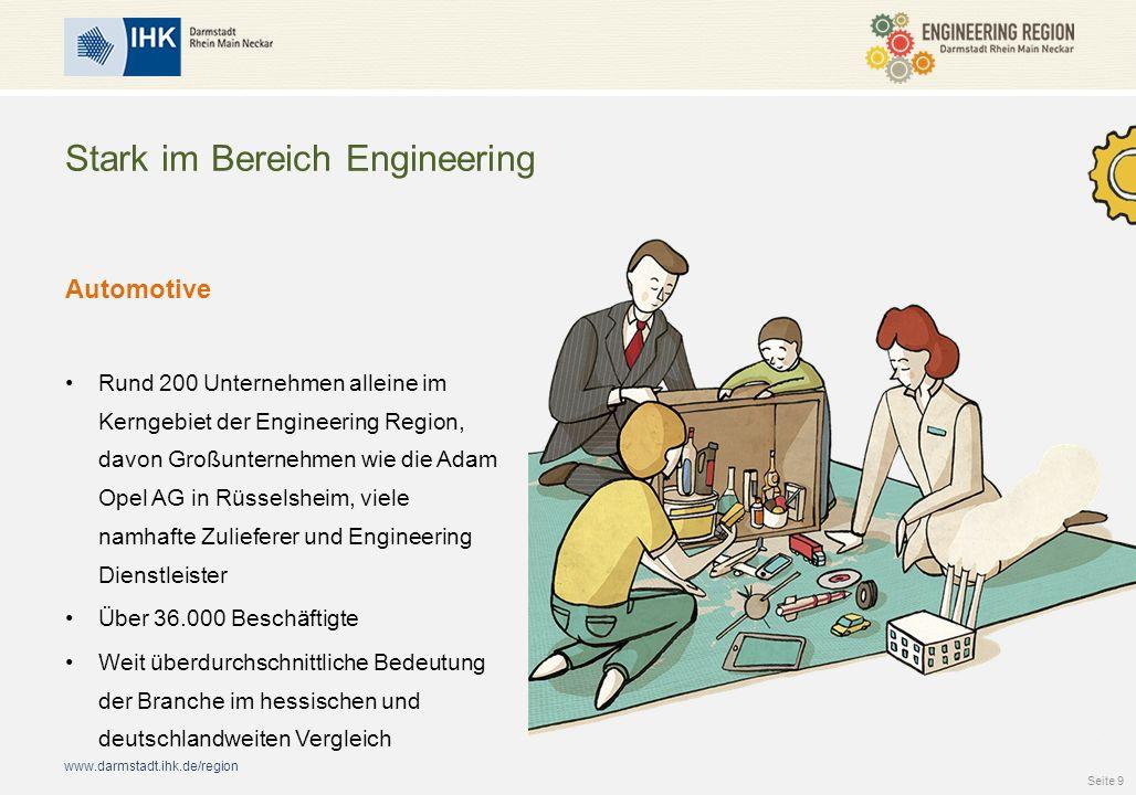www.darmstadt.ihk.de/region Stark im Bereich Engineering Automotive Rund 200 Unternehmen alleine im Kerngebiet der Engineering Region, davon Großunternehmen wie die Adam Opel AG in Rüsselsheim, viele namhafte Zulieferer und Engineering Dienstleister Über 36.000 Beschäftigte Weit überdurchschnittliche Bedeutung der Branche im hessischen und deutschlandweiten Vergleich Seite 9