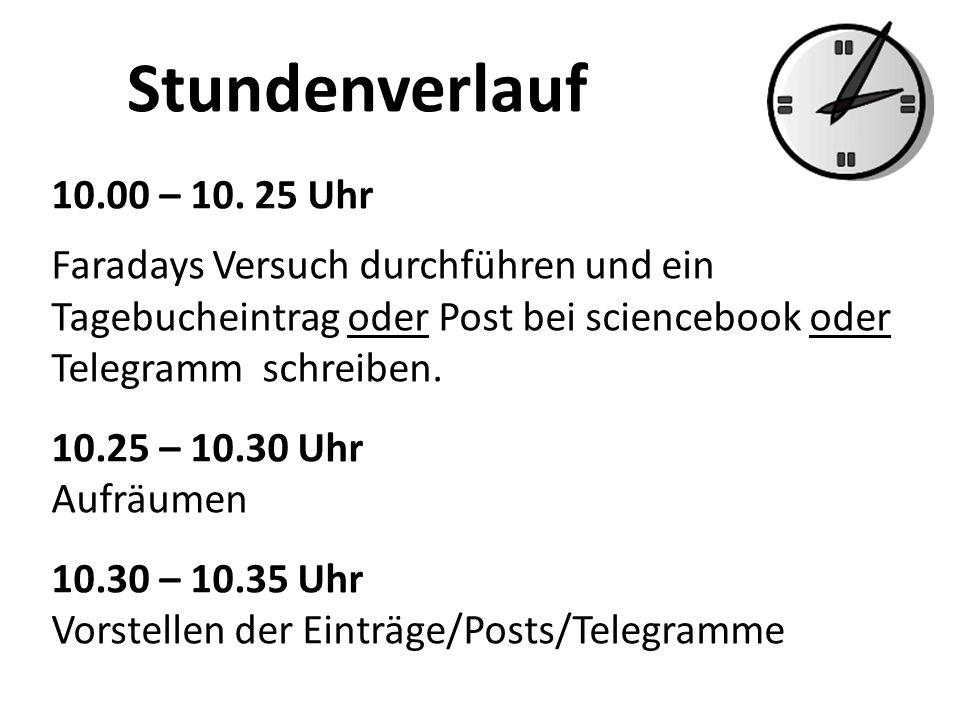 Stundenverlauf 10.00 – 10. 25 Uhr Faradays Versuch durchführen und ein Tagebucheintrag oder Post bei sciencebook oder Telegramm schreiben. 10.25 – 10.