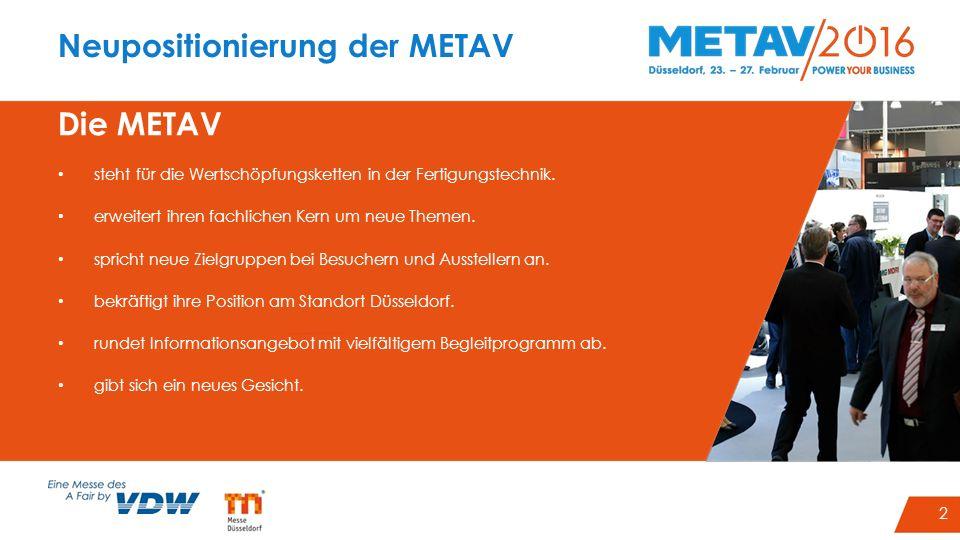 2 Neupositionierung der METAV Die METAV steht für die Wertschöpfungsketten in der Fertigungstechnik. erweitert ihren fachlichen Kern um neue Themen. s